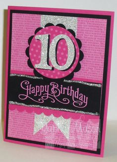 Black and pink (age) Birthday Card