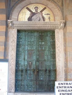 The Doors of the Amalfi Cathedral, Cast in Constantinople before and signed by Simeon of Syria, the cathedral's bronze doors are the earliest in Italy of post-Roman manufacture.