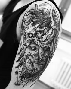 Viking Tattoo Sleeve, Full Sleeve Tattoos, Viking Tattoos, Skull Tattoos, New Tattoos, Girl Tattoos, Tattoos For Guys, Hades Tattoo, Valkyrie Tattoo