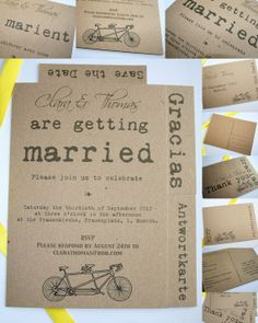 Recycled wedding invitations by PaperPapelPapier on Etsy, €70.00