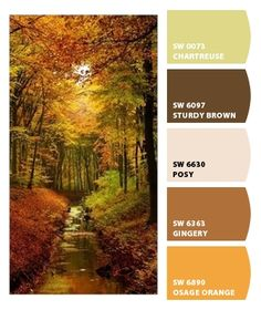 Fall paint colors from Chip It! by Sherwin-Williams Paint Color Schemes, Colour Pallette, Color Combos, Wall Colors, House Colors, Pallet Painting, Color Balance, Paint Colors For Home, World Of Color