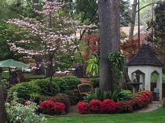 Tyler Azalea Trail backyard scene with pink dogwood tree, hanging ferns, cast iron plants, bench and gazebo, March 18, 2012