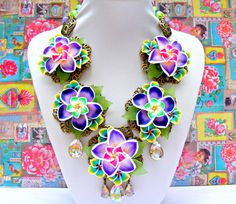 Colorful Statement Necklace Polymer Clay Purple by Sweetystuff