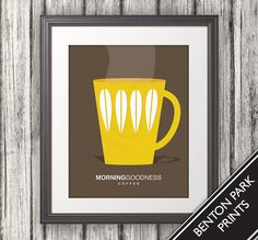 Coffee, Coffee Cup Print, Coffee Art, Coffee Poster, Mid Century Art, Retro, Morning Goodness Coffee - 11x14 on Etsy, $16.00