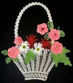 Crochet Basket of Flowers Crochet Wall Art, Love Crochet, Easy Crochet, Crochet Flower Patterns, Crochet Flowers, Crochet Purses, Crochet Doilies, Crochet Crafts, Crochet Projects
