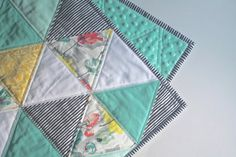 Summer Fields - triangle quilt - baby quilt - mint, turquoise, yellow, pink, and white