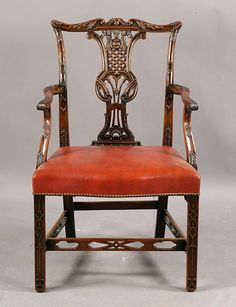 eacee77a1c71 CHIPPENDALE CARVED MAHOGANY DINING CHAIR HAVING SHAPED CHAIR RAILS