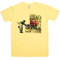 Banksy T Shirt - Grafitti Wallpaper - Yellow Haze / 2XL