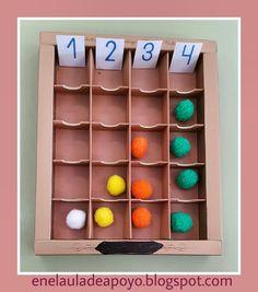 Reutilizamos una caja de bombones para realizar   varias actividades de conteo y clasificación.