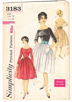Vintage 1959 Simplicity 3183 Sewing Pattern Misses' Dress and Tie Belt Size 14 Bust 34