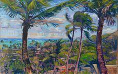 View over Lanikai from the Ridge, Oahu | by  Arthur Johnsen #ArthurJohnsen #Oil #CedarStreetGalleries