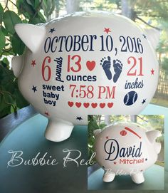 Baseball Baby Personalized Piggy Bank, Personalized Piggy Bank, Yankees Baby, Major League, Red Sox Piggy Bank,  Sports Baby Gift, Baby Bank by BubbieRed on Etsy