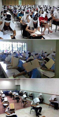"""""""Sombreros"""" anti copia. sixpenceee: Anti-cheating hats"""
