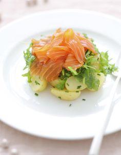 Gravlax, pommes de terre et riquette d'Alain Ducasse pour 4 personnes - Recettes Elle à Table - Elle
