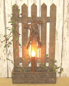 Primitive Wood Crafts | Primitive Garden Fence Box Light Decorated :: Wood Crafts :: Wholesale ...