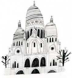 Sacre Coere by Emma Lewis drawings + illustrations Building Illustration, Graphic Design Illustration, Illustration Art, Emma Lewis, Les Deux Sevres, Let's Make Art, Ecole Art, House Drawing, City Art