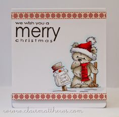 lili of the valley card - santa stop here. www.clairmatthews.com