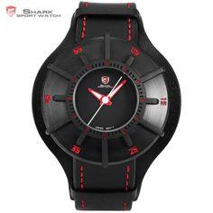 Silky Shark Sport Watch 3 D Craft Black Red Top Luxury Brand Watch Men Genuine Leather Strap Band Back Case Quartz-watch / Sport Watches, Cool Watches, Watches For Men, Wrist Watches, Men's Watches, Silky Shark, Top Luxury Brands, Watch Brands, Luxury Branding