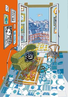 Italian illustrator Carlo Stanga has created these beautiful illustrations of interiors for Mapei. The use of perspective and detail particularly make these illustrations worthwhile looking at for … Interior Paint Colors, Interior Design, Interior Painting, Interior Plants, Gray Interior, Classic Interior, Room Interior, Arte Sketchbook, Arte Pop