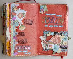 My Mind's Eye Blog. Tissue paper background and stickers journal page