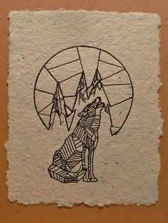 greeting card howling wolf with mountains and by rubyshinesdesigns