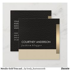 Metallic Gold Trim and Leather Square Business Card