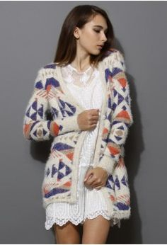 Fluffy Aztec Cardigan - Retro, Indie and Unique Fashion