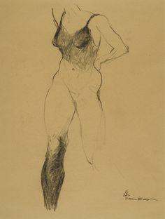 """Saatchi Online Artist: karien deroo; Charcoal, Drawing """"study model"""""""