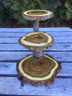 Mini Black Locust Wood Rustic Cupcake Stand Wedding party shower wooden 3 Tier Step
