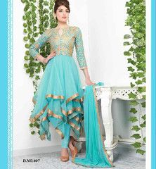 TRENDY RAMA ANARKALI DRESS VDTVA407 Strike a perfect pose of beauty with this designer rama color Anarkali salwar suit. Exciting embroidery work is done on the dress to increase the beauty of the dress. A santoon salwar material, Chiffon dupatta and Santoon inner completes the look of this dress.