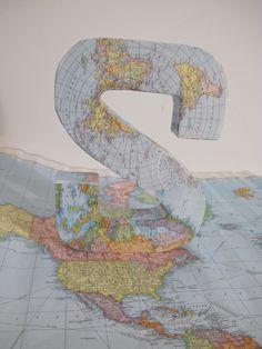 DIY map covered initial