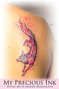 Right Back Shoulder Abstract Watercolor Wolf Tattoo