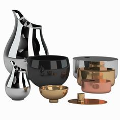 - Place large and small silver pitcher on counter with rectangular wooden cutting board as indicated. - Place medium (copper) oval box with bowl of plums as indicated. Kitchenware Set, Model Shop, Black Glass, 3 D, Household, Dishes, Stuff To Buy, Gold Accessories, Models