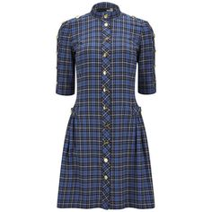 Love Moschino Women's Buttoned Tartan Dress - Blue Check ($200) ❤ liked on Polyvore featuring dresses, blue check, blue cotton dress, blue high neck dress, sleeved dresses, elbow sleeve dress and blue check dress