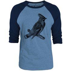 Mintage Bohemian Waxwing 3/4-Sleeve Raglan Baseball T-Shirt (Cobalt Marle / Navy)