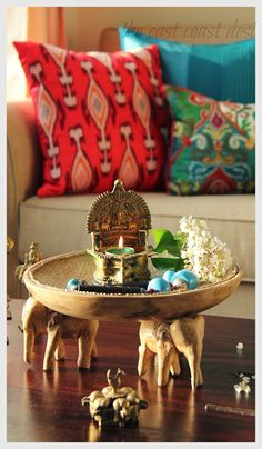 in time for some Ganesha Chaturthi Inspiration ! Gaja-Lakshmi lamp - use votive holders for easy clean upGaja-Lakshmi lamp - use votive holders for easy clean up Ethnic Home Decor, Indian Home Decor, Indian Decoration, Interior Rugs, Interior Exterior, Home Decor Furniture, Diy Home Decor, Decor Crafts, Indian Interiors