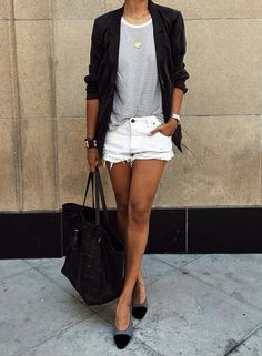 99 Simple and Fashionable Style with White Shorts Outfit - Fashionetter Mode Outfits, Short Outfits, Casual Outfits, Casual Jeans, Casual Blazer, Dress Casual, Summer Fashion Outfits, Spring Summer Fashion, Autumn Fashion