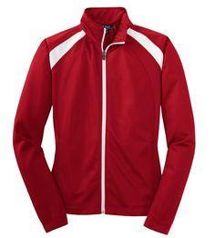 Sport-Tek Women's Long-Sleeve Full Zip Polyester Athletic Running Tricot Track Jacket,Large,True Red/White. Sport-Tek Women's Long-Sleeve Full Zip Polyester Athletic Running Tricot Trac.