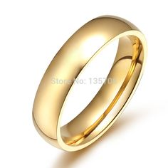 Smooth titanium steel gold-color ring couple rings for women men jewelry engagement wedding rings anillos bague femme Mens Stainless Steel Rings, Stainless Steel Polish, Engagement Ring Sizes, Engagement Jewelry, Wedding Engagement, Womens Wedding Bands, Wedding Ring Bands, Mens Gold Rings, Rings For Men