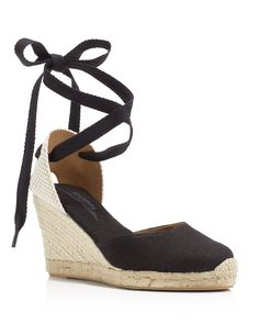 The perfect day-to-night pair for warm-weather strolling, Soludos' lace-up espadrilles offer a flattering leg-lengthening profile in soft cotton and linen.   Fabric upper, fabric and leather lining, j