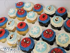 Frozen and Spiderman cupcakes | Blue Note Bakery - Austin, Texas