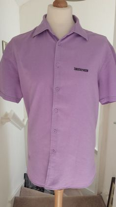 LAMBRETTA Linen Blend Shirt Mens Size XL Lilac Short Sleeve Cooool!