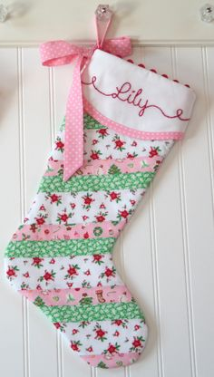 "Personalized Christmas Stocking, Quilted Christmas Stocking, Pink and Green, Newborn Baby Girl Christmas Stocking, Hand Embroidered Heirloom Monogrammed Christmas Stocking 21"" by tadacreations on Etsy https://www.etsy.com/listing/253623075/personalized-christmas-stocking-quilted"