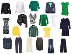 Wardrobe: navy, with green and yellow!