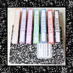 days of the week + blanks with borders for clothespins to match composition notebooks