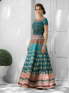 SAPTARANGI VL-108-D_1 RATE : 3295 - SAPTARANGI VASTREENI  101-109 SERIES  DESIGNER TRADITIONAL LOOK 2IN1 STYLE PRINTED PARTY WEAR LEHENGA & GOWN STYLE INDIAN WOMEN FASHION STYLISH SUITS AT WHOLESALE PRICE AT DSTYLE ICON FASHION CONTACT: +917698955723 - DStyle Icon Fashion