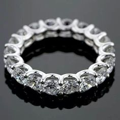 Anniversary Jewelry U-prong eternity band=i want big hint! You are going to wear this? Eternity Ring Diamond, Eternity Bands, Diamond Bands, Diamond Jewelry, Jewelry Rings, Fine Jewelry, Vintage Engagement Rings, Vintage Rings, Vintage Style