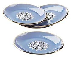 Set di 4 piatti piani in ceramica Flower blu - d 23 cm