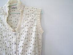 Eyelet Lace Cotton Blouse Vintage Romantic Ruffled by MeshuMaSH