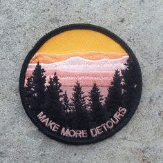 """A simple and wise message: make more detours. The best kind of traveling is making plenty of stops along the way. Patch by illdownhill. 3"""" in diameter. Iron-on backing."""